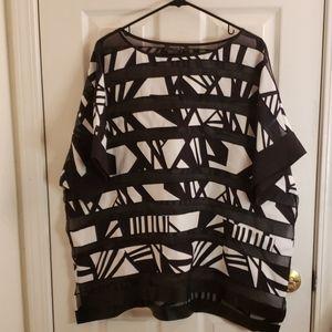 Lafayette 148 Black & White Blouse Size XXL